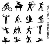 Sports and athletic icon set in black - stock vector