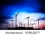 construction site on a sunset - stock photo