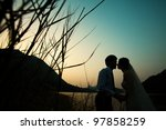 asia couple bride and groom - stock photo