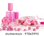 composition of pink  perfume  a ... | Shutterstock . vector #97865993