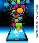 social media  communication in... | Shutterstock .eps vector #97869683