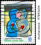 USA - CIRCA 1998: A stamp printed in USA devoted to Organ & Tissue Donation, circa 1998 - stock photo