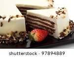 Cake with white chocolate and strawberry - stock photo