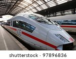 COLOGNE - FEB 13: Intercity Express train of Deutsche Bahn on FEB 13,2011 in Cologne,Germany.German rail operator Deutsche Bahn has reportedly confirmed that it will begin services to London from 2013 - stock photo