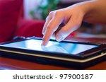 hand finger touching screen on... | Shutterstock . vector #97900187