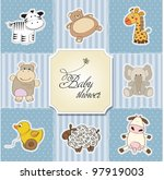 baby shower card template.... | Shutterstock .eps vector #97919003