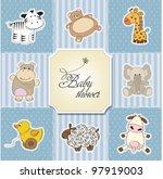 baby shower card template.... | Shutterstock .eps vector #97919003
