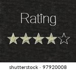 Five stars ratings web yellow written on blackboard background - stock photo