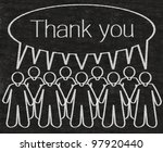 business people or employees with thank you dialog box figure written with chalk on a blackboard background - stock photo