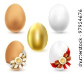 Chicken eggs isolated on white background. Vector. - stock vector