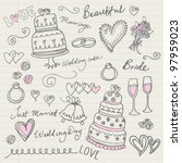 wedding doodle sketchy vector... | Shutterstock .eps vector #97959023