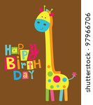 cute happy birthday card with fun giraffe. vector illustration - stock vector