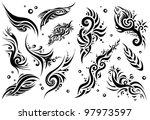 set of 12 tribal tattoo  set 1  | Shutterstock .eps vector #97973597