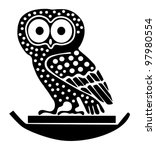 Tattoo of an owl - stock vector