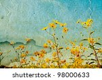 yellow field flowerses on... | Shutterstock . vector #98000633