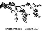 Black branch of beautiful seasonal cherry blossom - stock vector