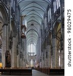 Central nave of Cologne Cathedral, Germany - stock photo
