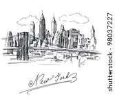 new york   hand drawn metropolis | Shutterstock .eps vector #98037227