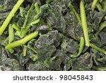 Closeup Of Frozen Spinach