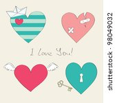 Cute hearts collection - stock vector