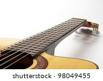 Part of Classic Guitar on White Background - stock photo