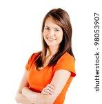 happy teen girl half length... | Shutterstock . vector #98053907