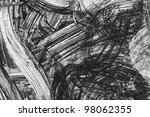 black and white abstract brush painting - stock photo