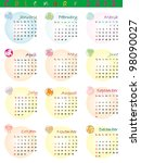 calendar 2012 with zodiac signs ... | Shutterstock . vector #98090027