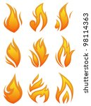 vector set  fire flames  ... | Shutterstock .eps vector #98114363