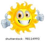 a sun cartoon mascot giving a... | Shutterstock . vector #98114993