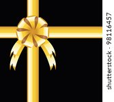 black background with gold bow ... | Shutterstock .eps vector #98116457