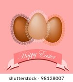 easter eggs with lace frames | Shutterstock .eps vector #98128007