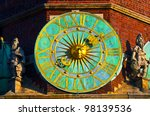 City hall clock, Wroclaw, Poland. - stock photo