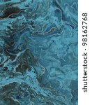 Abstract Blue Sea Background handmade painting - stock photo