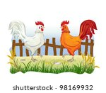 Roosters in country side outdoor scene with fence - stock vector