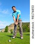 young golfer hitting a shot... | Shutterstock . vector #98176853