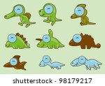 9 cute big eyes dinosaurs | Shutterstock .eps vector #98179217
