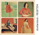 collage with beautiful woman in retro room - stock photo