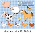 big set of farm animals on a... | Shutterstock .eps vector #98198063