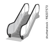 3d render of escalator stairs - stock photo