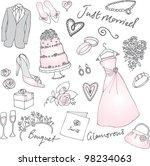 wedding doodles vector... | Shutterstock .eps vector #98234063
