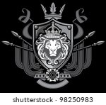 Lion Flag Crest - stock vector