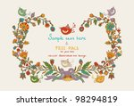 Flowers decor frame with leafs, birds and hearts - stock vector