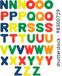 Foam alphabet letters with three different colors for each letter. - stock photo