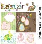 easter cards set  vector... | Shutterstock .eps vector #98305187
