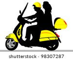 vector drawing riders on scooter | Shutterstock .eps vector #98307287