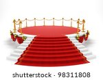 3d image of red carpet on step of stage - stock photo