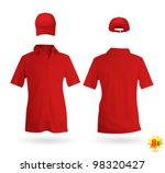 Red unisex uniform template set: polo shirt and baseball cap - stock vector