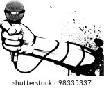 microphone stencil | Shutterstock .eps vector #98335337