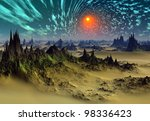 fantasy world somewhere in the...   Shutterstock . vector #98336423
